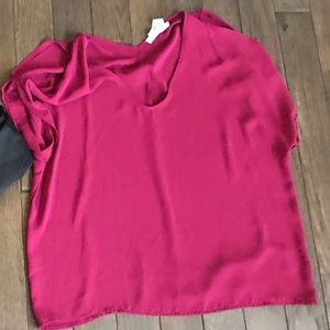 Tops - Fuscia open shoulder blouse